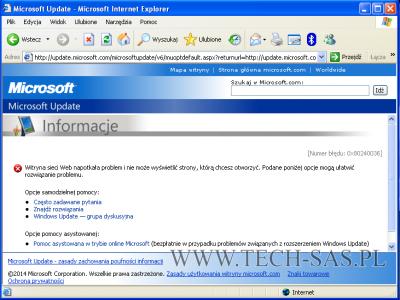 Windows XP [Numer błędu: 0x80240036]