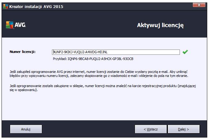 Wprowadzanie licencji do AVG
