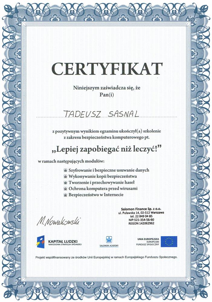 Certyfikat Lepiej zapobiegać niż leczyć